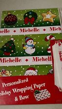 Personalized gift wrap wrapping Christmas xmas NIP Michelle green tree star