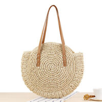 Round Summer Straw Bag Large Woven Shoulder Bag With Leather Straps Handbag