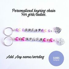 Stunning Bead Keyring Bag School Tag Key Chain Party Bag Personalized Any Name