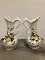 Vintage Interpur White Pitcher Bud Vase PAIR Raised Flowers Bisque Capodimonte