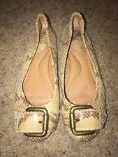 Fossil Beige Snakeskin Buckle Flats Shoes Size 8 M Womens