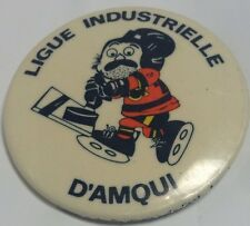 "Vintage 2"" Promo Button Pinback LIGUE INDUSTRIELLE D' AMQUI Macaron ICE HOCKEY"