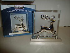 Chrstmas Kirkland tealight candle luminary silver etched glass reindeer in box