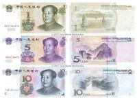 China 1 + 5 + 10 Yuan 1999-2005 Set of 3 Banknotes 3 PCS UNC