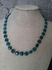 """18"""" HANDMADE SILVER PLATED GREEN CHRYSOCOLLA & CRYSTAL NECKLACE"""
