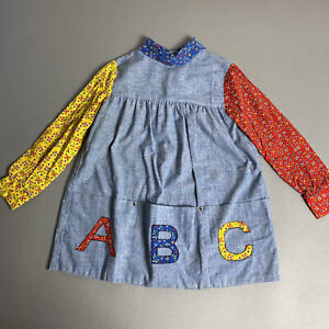 Vintage 70s Ruth of Carolina Toddler Girl 4T? ABC 1st Day of School Dress 1970s