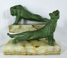 Vtg Oscar Waldmann Bronze Lion Lioness Sculptures Bookends On Marble Signed