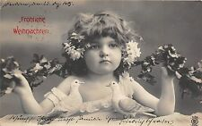 BG20180 girl with dove and flower christmas weihnachten  germany