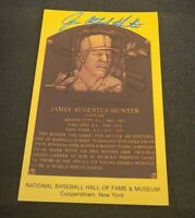 "JAMES ""CATFISH"" HUNTER SIGNED MLB HOF PLAQUE POSTCARD NY YANKEES W/COA+PROOF"