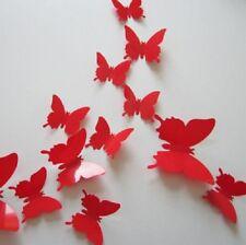 3D Rojo Mariposa Pared Arte Calcomanía Juego De 12 (totalmente Nuevo)