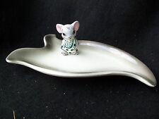 Vintage Cheese Plate Platter!  MOUSE TOOTHPICK HOLDER!  SIGNED!  ADORABLE!!