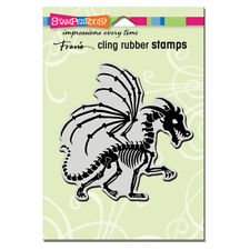 STAMPENDOUS RUBBER STAMPS CLING DRAGON SKELETON NEW HALLOWEEN cling  STAMP