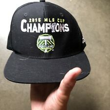 Mens Adidas 2015 MLS Cup Champions Portland Timbers Black White Snapback Hat Cap