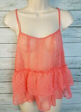 NWT $34 Belle du Jour Sheer Chiffon Textured Tank Top Coral Juniors Size Small