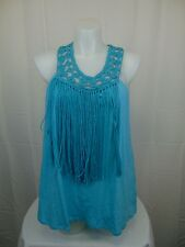 Jessica Simpson Plus Size Sleeveless Tae Crochet Fringe Tank Top 2X Blue #3943