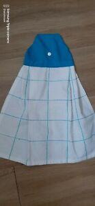 Tea towel Hanging Cotton Waffle white blue squares blueTop Stud Fastener