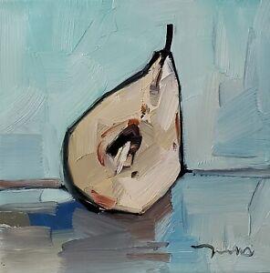 DJOSE TRUJILLO Oil Painting IMPRESSIONISM STILL LIFE HALF PEAR COLLECTIBLE ART