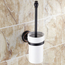 Wall Mount Oil Rubbed Black Bathroom Toilet Cleaning Brush with Holder Cup Set