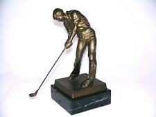 Metall Figur GOLFER bronziert handgefertigt H 18,5 cm neu Golf Golfspieler Pokal