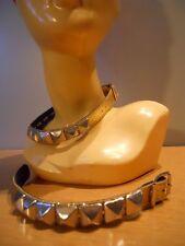 New Golden Glitter Choker Collar Silver Metal Pyramid Studded Bracelet Wristband