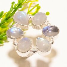 Rainbow Moonstone Gemstone Handmade Fashion Jewelry Ring Size Adst. SR-1234