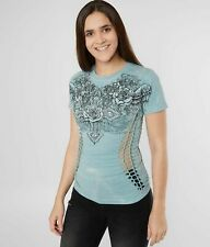Affliction ROSE WINGS Short Sleeve T-Shirt Womens Catalina Wash Blue