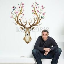 SIKA DEER Antlers Bloom Tree Bird Home Room Wall Stickers Mural Decal Decoration