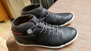 Plae Mens Abra Black Leather Waterproof High Top Sneakers Shoes Size 9.5