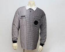 Official Sports Long Sleeve Polo Shirt Referee Checks Pattern LARGE