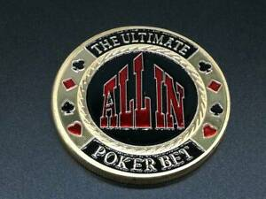 Golden ALL IN POKER BET Casino Poker Card Guard Cover Protector