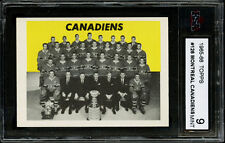 1965-66 TOPPS~#126~MONTREAL CANADIENS TEAM CARD~JACQUES LAPERRIERE~KSA 9 MINT