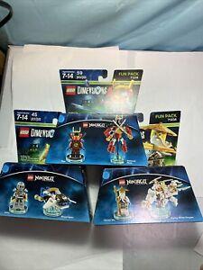 New 3 Pack LEGO Dimensions Ninjago Zane, Nya and Sensei Wu 71216, 71217, 71234
