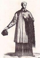 Gravure XIXe Chanoine Saint Thomas d'Arras Saint Eloi d'Arras 1838