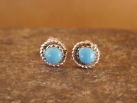 Native American Sterling Silver Turquoise Post Earrings by Stanford Chuyate