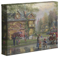 Thomas Kinkade Studios Hometown Firehouse 8 x 10 Gallery Wrapped Canvas