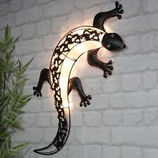 LED Solar Wand Deko Gecko Echse Lampe Außen Garten Beleuchtung Hof Figur Leuchte