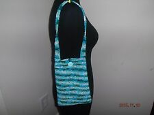 New Purse Hobo Bag Handmade in USA Crochet Lined Button Closure Turquoise Green