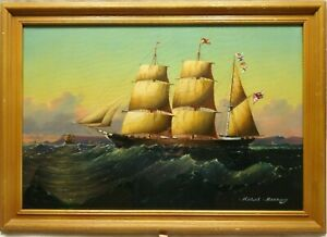 MICHAEL MATTHEWS (B.1933) SIGNED ORIGINAL OIL PAINTING SEASCAPE WITH MASTED SHIP