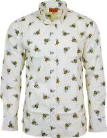 Run & Fly Mens Retro Bumble Bee Printed Long Sleeve Shirt 60s 70s Vintage