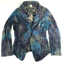 Alberto Makali Blazer Jacket Size M Purple Blue Snakeskin Animal Print Studded