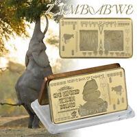 WR Zimbabwe 100 Trillion Dollars Bank Notes Brick Gold Bullion Art Collector Bar