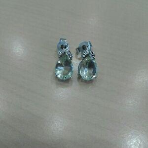 925 Silber Damen Ohrringe Ohrstecker mit Prasiolith (grüner Amethyst) Schmuck