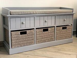 Grey Twin Seater Storage Bench Home Furniture w/ Drawers Wicker Baskets Cushion