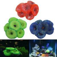 1x Aquarium Artificial Fake soft Disc Coral Plant Fish Color Ornament Tank P0G3