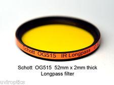 Schott OG515 52mm x 2mm thk 515nm Longpass Infrared Color IR Photography Filter