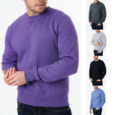 Mens Sweatshirt Crew Neck Sweater Pullover Jumper Plain Heavy Slim Fit S-XL