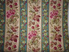 ancien tissu french textile imprimé fleurs framboise bleu rose XIXe 86x82 cm