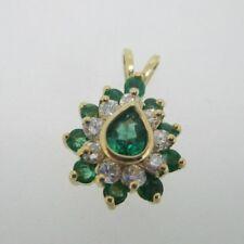 14K Yellow Gold Natural Emerald & Diamond Pendant
