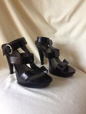 CL By Laundry Black Sexy Ankle Strap Sandals Heels Club Sz 9 Faux Snake Skin EUC