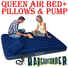 Intex Air Bed Queen Size Inflatable Mattress Pillow Pump Included Camping Bed